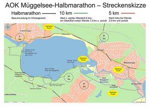Strecke Müggelsee-Halbmarathon